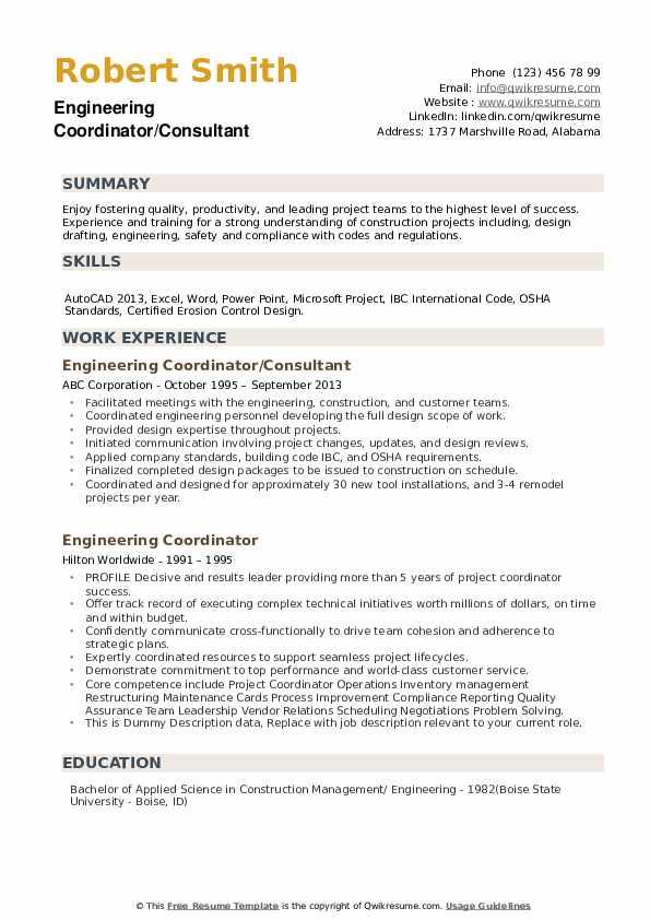 Engineering Coordinator/Consultant Resume Template