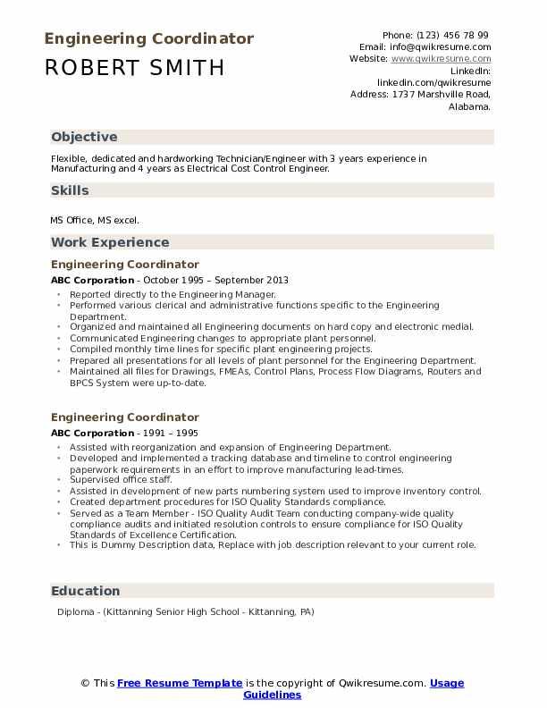 Engineering Coordinator Resume example