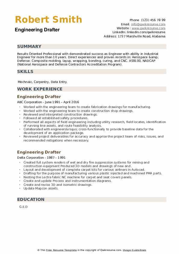 Engineering Drafter Resume example