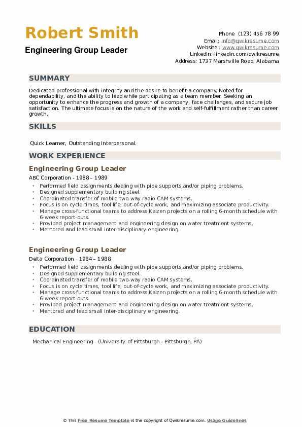 Engineering Group Leader Resume example