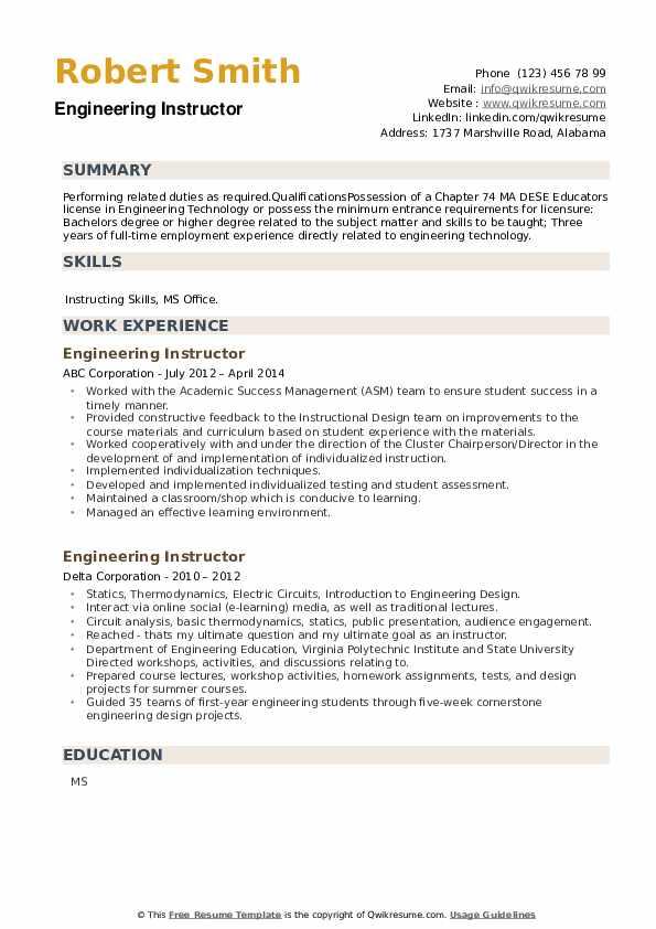 Engineering Instructor Resume example