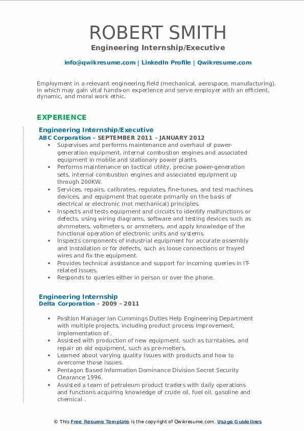 engineering internship resume samples  qwikresume