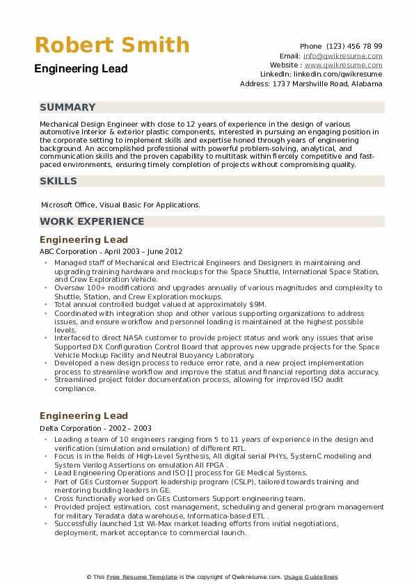 Engineering Lead Resume example