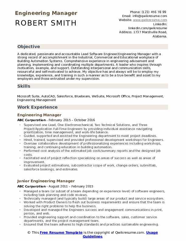 engineering executive resume sample