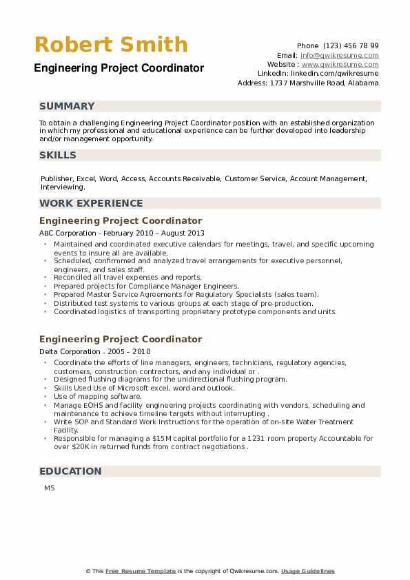 Engineering Project Coordinator Resume example