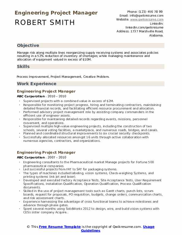 engineering project manager resume samples
