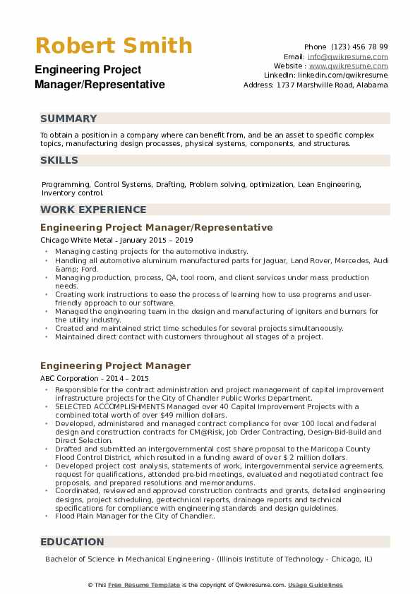 Engineering Project Manager Resume example
