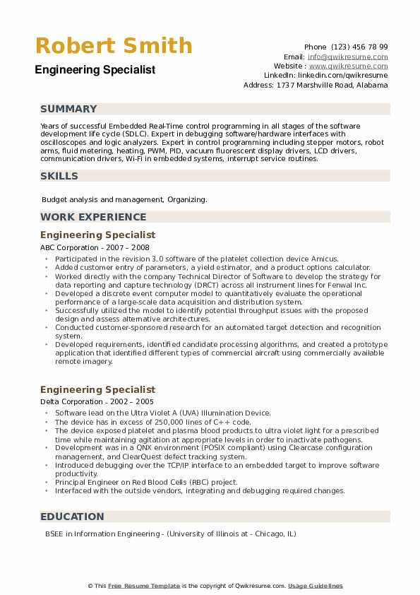 Engineering Specialist Resume example