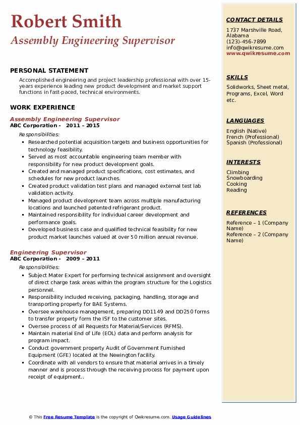 engineering supervisor resume samples  qwikresume