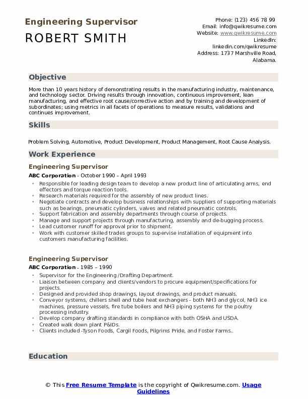 Engineering Supervisor Resume example