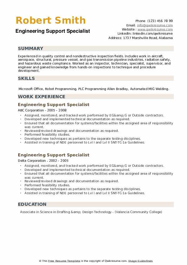Engineering Support Specialist Resume example