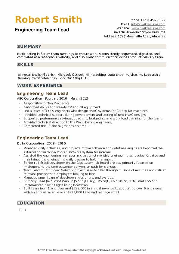Engineering Team Lead Resume example