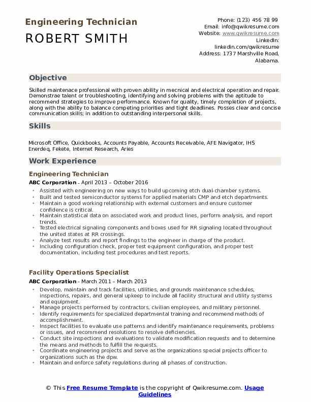 Engineering Technician Resume Model
