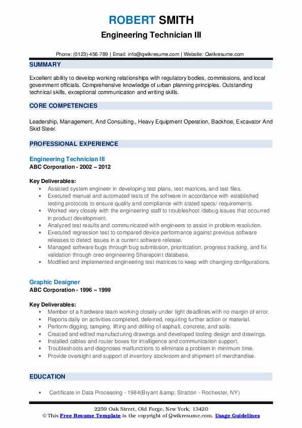 Engineering Technician III Resume Example