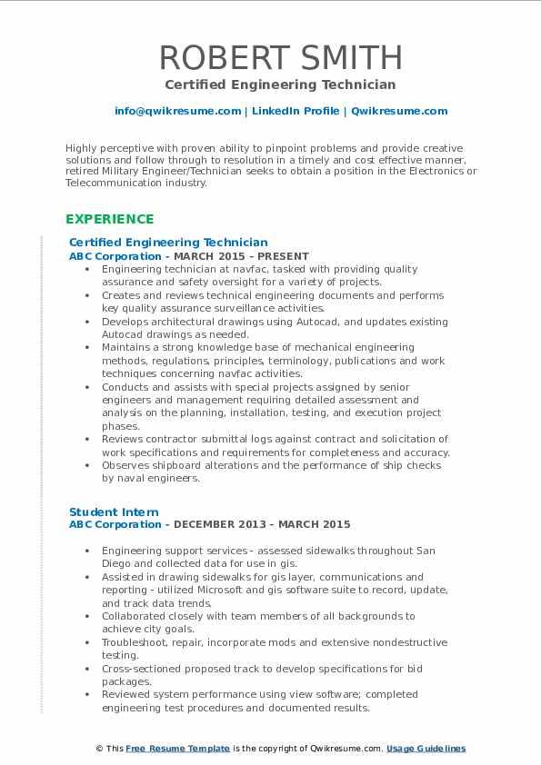 Certified Engineering Technician Resume Sample