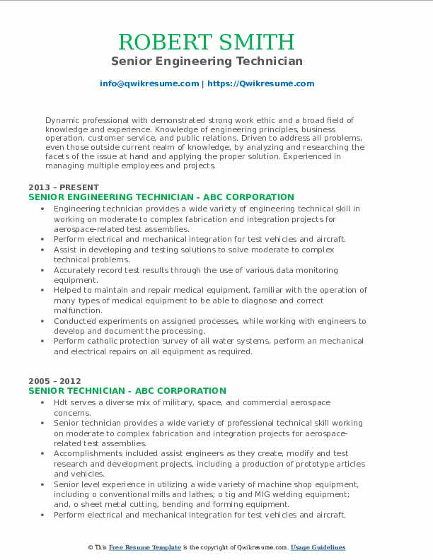 Senior Engineering Technician Resume Format