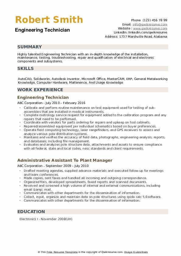 Engineering Technician Resume example