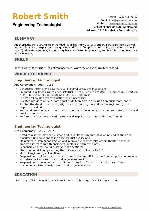 Engineering Technologist Resume example