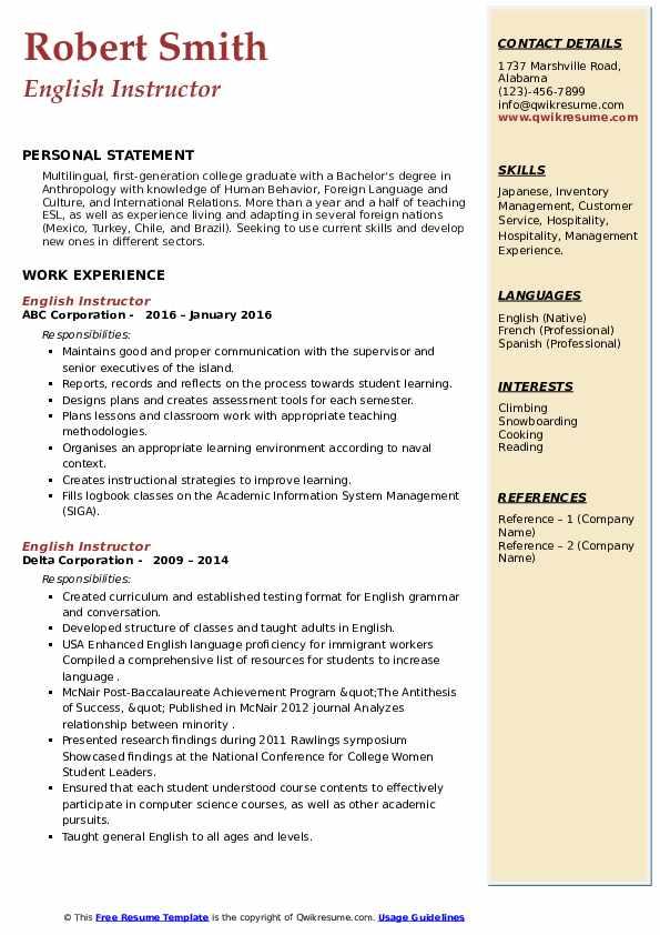 English Instructor Resume example