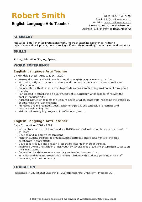 English Language Arts Teacher Resume example