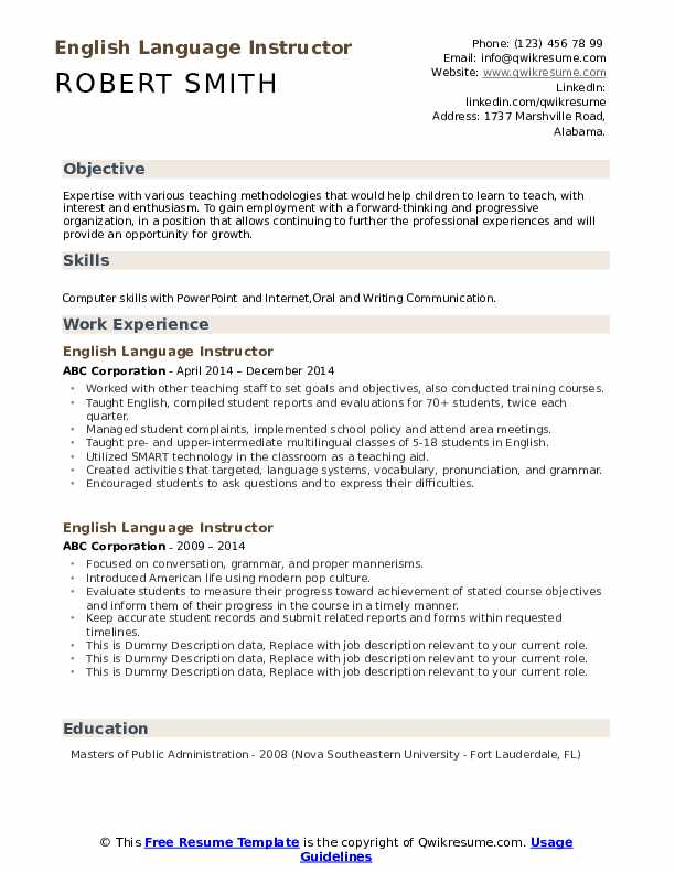 English Language Instructor Resume example