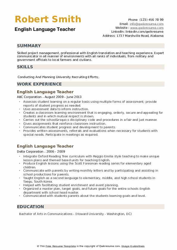 English Language Teacher Resume example