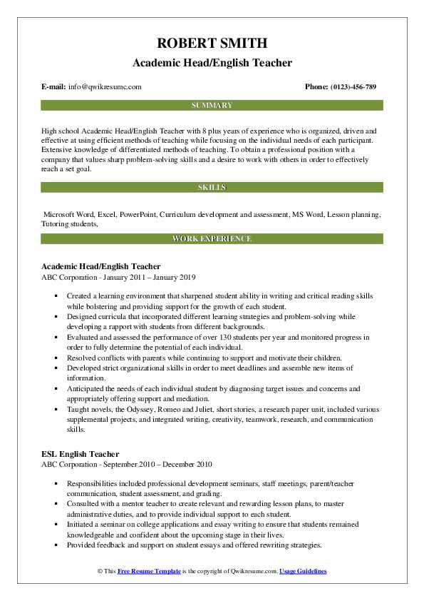 English Teacher Resume Samples | QwikResume