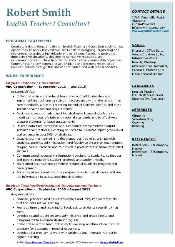 English Teacher / Consultant Resume Format