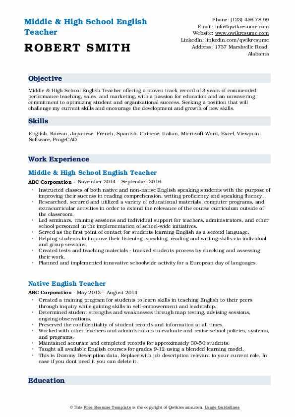 english teacher resume samples  qwikresume
