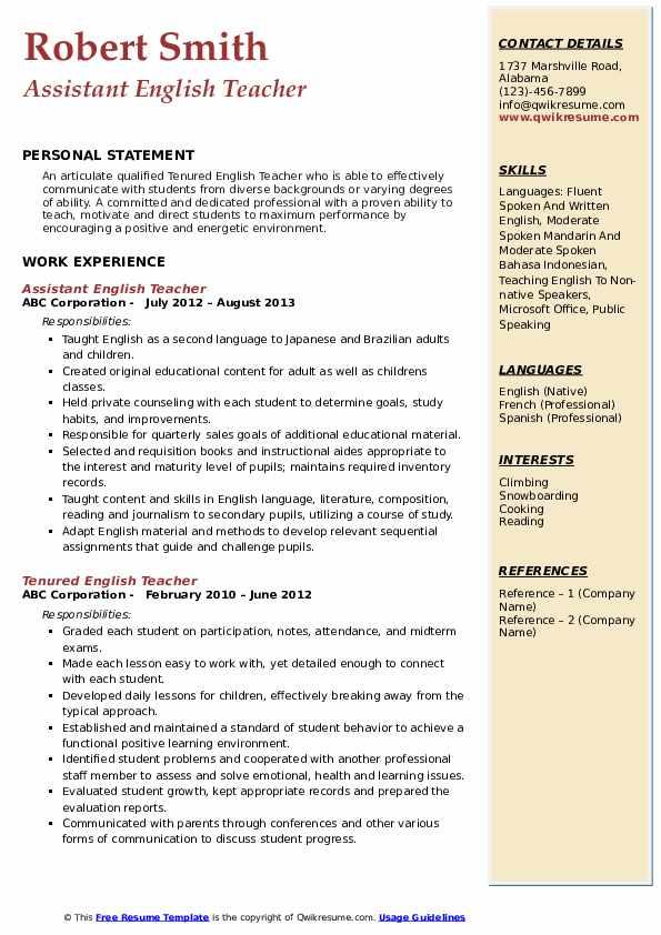 english teacher resume samples