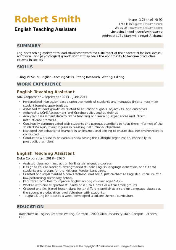 English Teaching Assistant Resume example