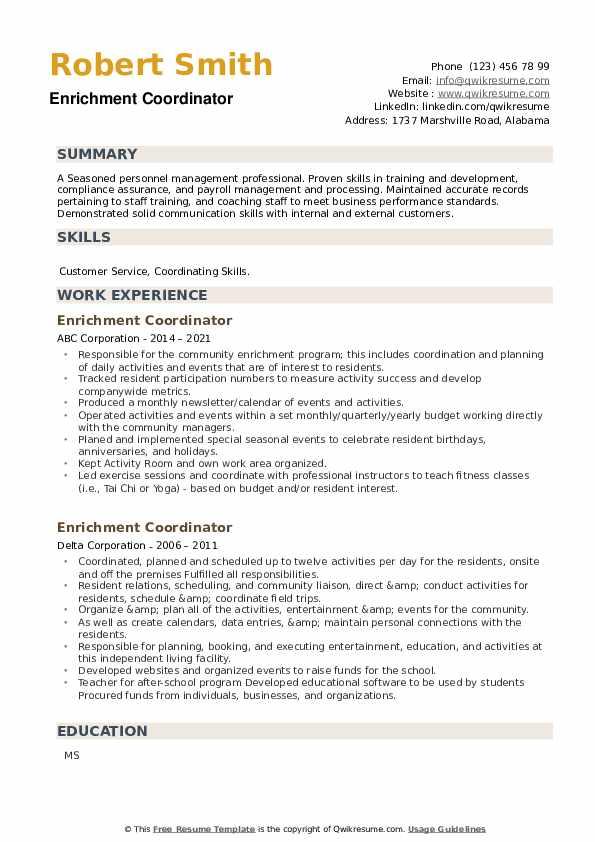Enrichment Coordinator Resume example