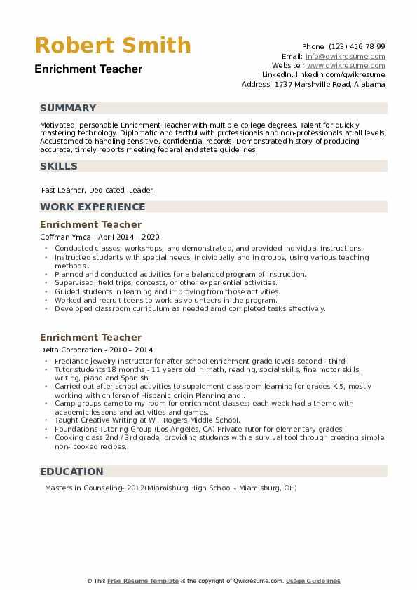 Enrichment Teacher Resume example