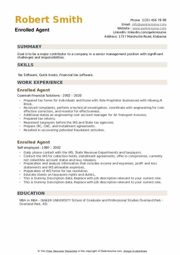 Enrolled Agent Resume example