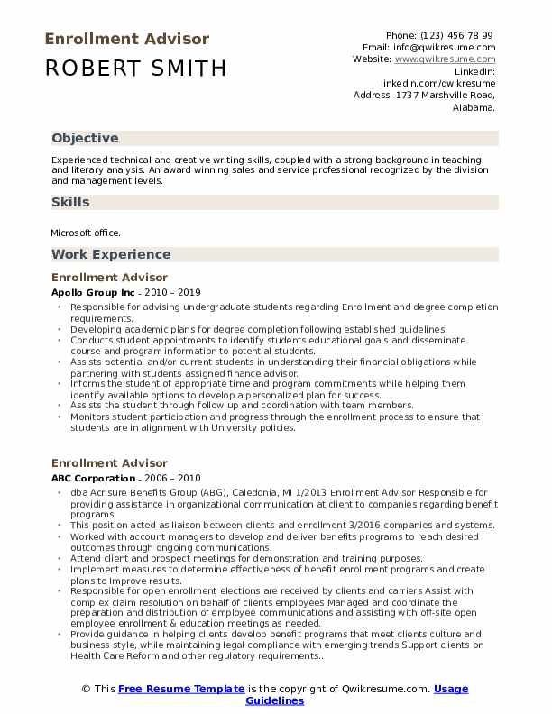 Enrollment Advisor Resume Model