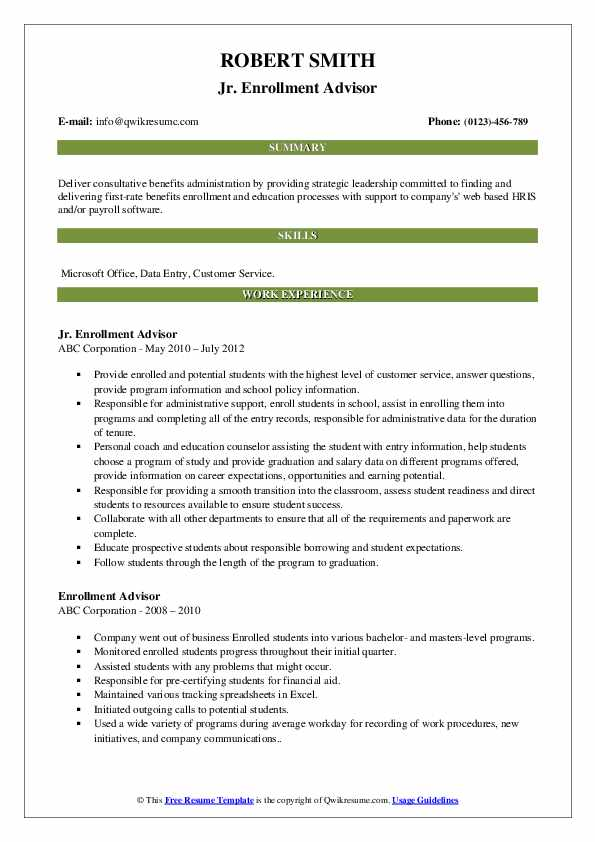 Jr. Enrollment Advisor Resume Template