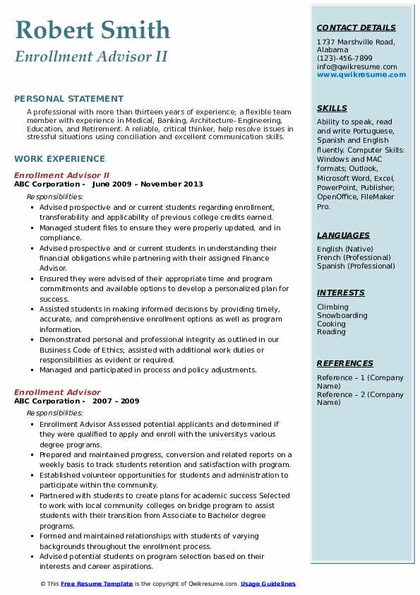 Enrollment Advisor II Resume Example