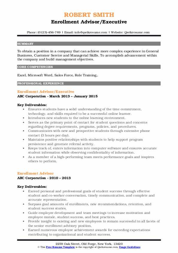 Enrollment Advisor/Executive Resume Model