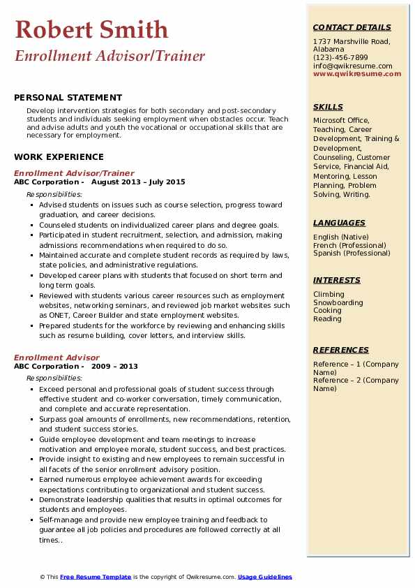 Enrollment Advisor/Trainer Resume Template