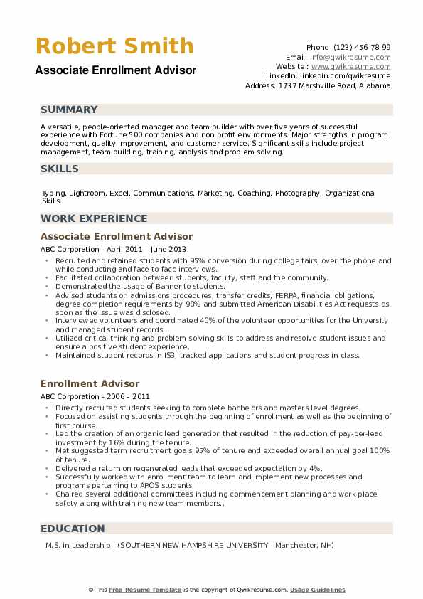 Associate Enrollment Advisor Resume Sample