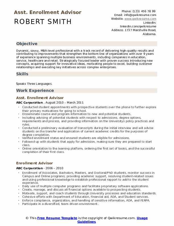 Asst. Enrollment Advisor Resume Template