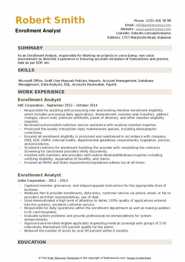 Enrollment Analyst Resume example