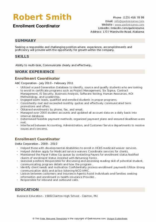 Enrollment Coordinator Resume example