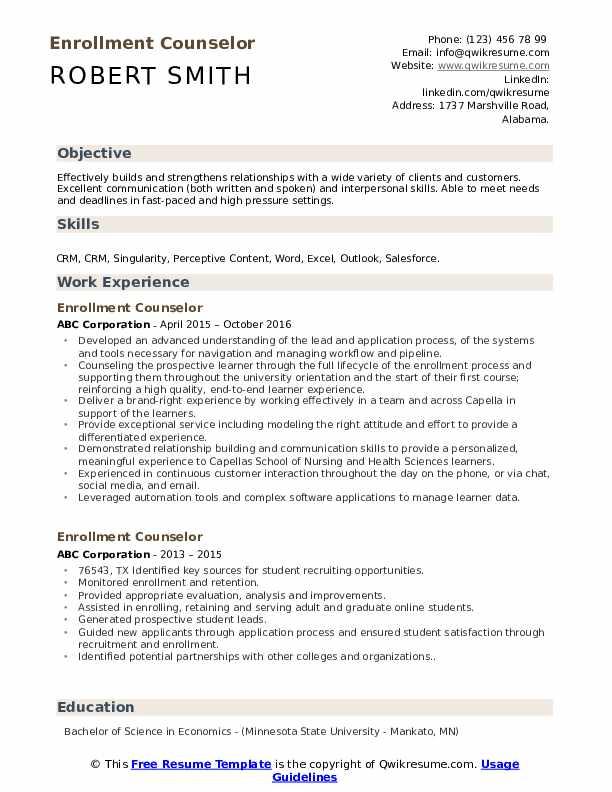 Enrollment Counselor Resume Format