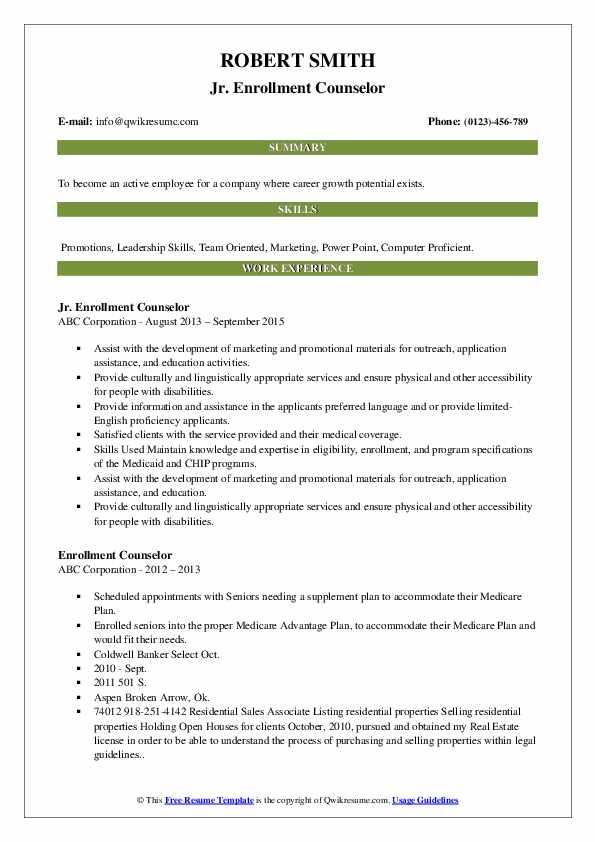 Jr. Enrollment Counselor Resume Format