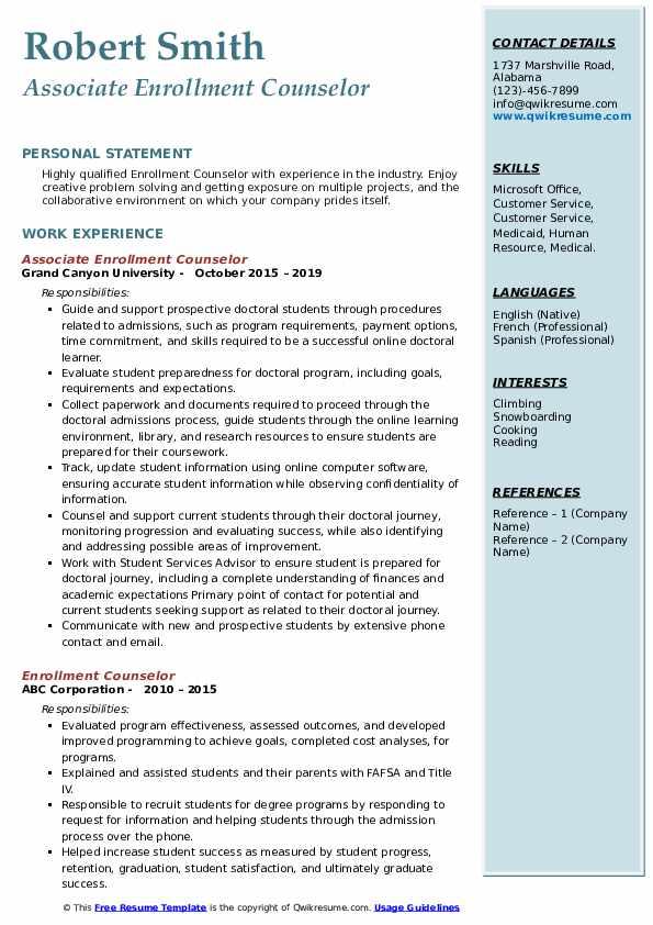 Associate Enrollment Counselor Resume Format