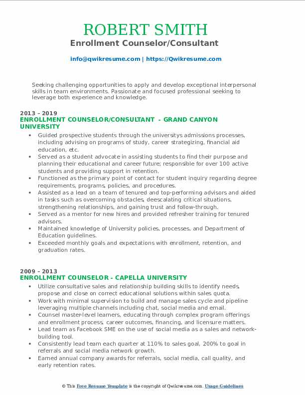 Enrollment Counselor/Consultant  Resume Sample