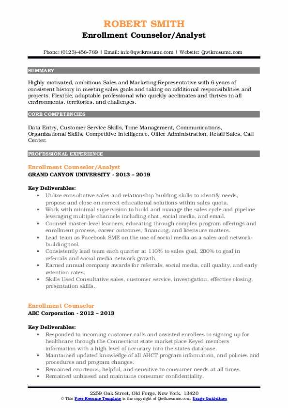 Enrollment Counselor/Analyst Resume Example