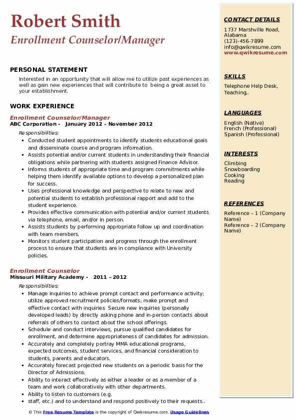 Enrollment Counselor/Manager Resume Model