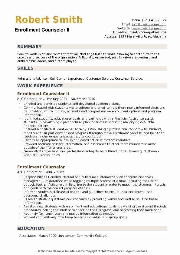 Enrollment Counselor II Resume Format
